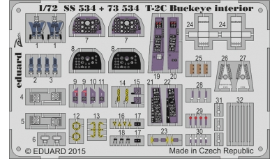 Фототравление для T-2C/E North American, Buckeye (WOLFPACK DESIGN) - EDUARD 73534 1/72