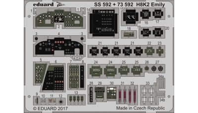 Фототравление для H8K2 Model 12 Kawanishi (HASEGAWA) - EDUARD 73592 1/72