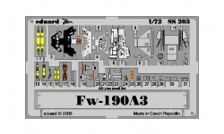 Фототравление для Fw 190A-3 Focke-Wulf, Würger, Shrike (TAMIYA) - EDUARD SS203 1/72