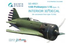 И-16 Тип 5 Поликарпов. 3D декали - QUINTA STUDIO QD48021 1/48