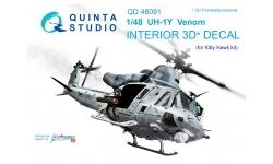 UH-1Y Bell, Venom, Yankee Huey. 3D декали (KITTY HAWK) - QUINTA STUDIO QD48091 1/48