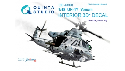 UH-1Y Bell, Venom, Yankee Huey. 3D декали (KITTY HAWK) - QUINTA STUDIO QD48091 1/48