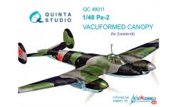 Пе-2 Петляков. Комплект остекления вакуумный (ЗВЕЗДА) - QUINTA STUDIO QC48011 1/48
