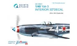 Як-3 Яковлев. 3D декали (ЗВЕЗДА) - QUINTA STUDIO QD48001 1/48