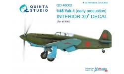 Як-1 Яковлев. 3D декали - QUINTA STUDIO QD48002 1/48