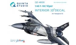 F-16C General Dynamics, Fighting Falcon. 3D декали (HASEGAWA) - QUINTA STUDIO QD48035 1/48