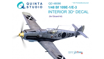 Bf 109E-1/E-3 Messerschmitt. 3D декали (EDUARD) - QUINTA STUDIO QD48086 1/48