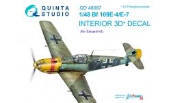Bf 109E-4/E-7 Messerschmitt. 3D декали (EDUARD) - QUINTA STUDIO QD48087 1/48