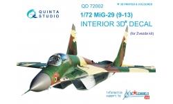 МиГ-29С (9-13С). 3D декали (ЗВЕЗДА) - QUINTA STUDIO QD72002 1/72