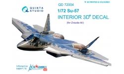 Су-57 Сухой. 3D декали (ЗВЕЗДА) - QUINTA STUDIO QD72004 1/72