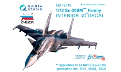 Су-30СМ Сухой. 3D декали (ЗВЕЗДА) - QUINTA STUDIO QD72012 1/72