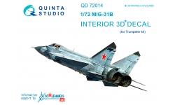 МиГ-31Б. 3D декали (TRUMPETER) - QUINTA STUDIO QD72014 1/72