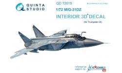 МиГ-31ДЗ. 3D декали (TRUMPETER) - QUINTA STUDIO QD72015 1/72