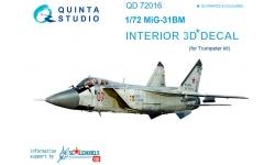 МиГ-31БМ. 3D декали (TRUMPETER) - QUINTA STUDIO QD72016 1/72